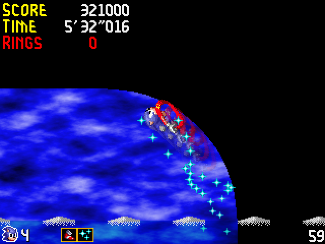 Engine screenshot, showing running along a curved wall with invincibility and super sneakers active.